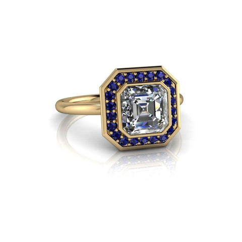 Asscher Cut Forever One Moissanite & Sapphire Engagement Ring-Bel Viaggio Designs