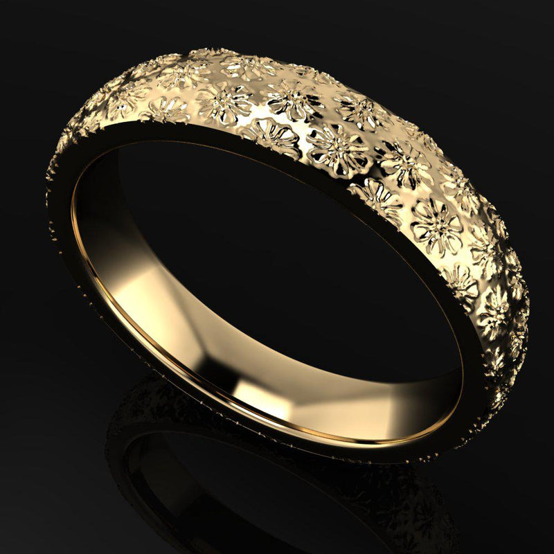 Women's Solid Gold Wedding Band Flower Design-Bel Viaggio Designs