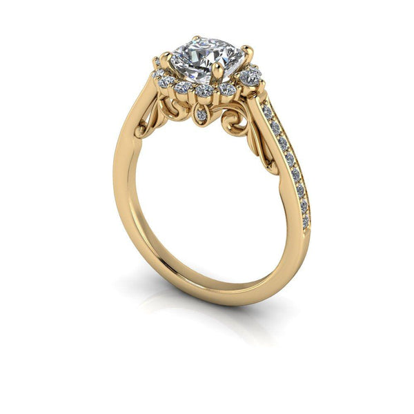1.46 CTW Cushion Cut Colorless Moissanite & Diamond Halo Engagement Ring-Bel Viaggio Designs