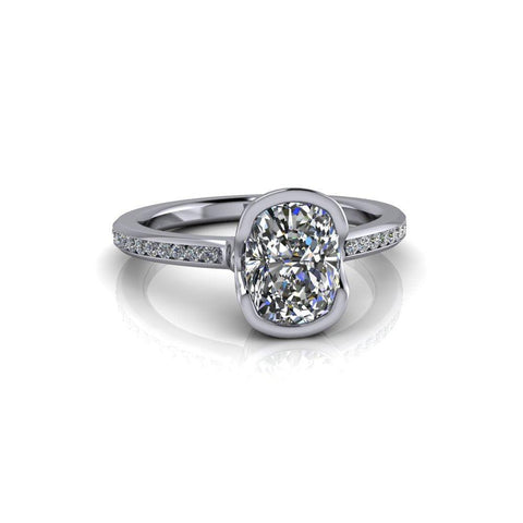 1.77 ctw Elongated Cushion Cut Moissanite & Diamond Engagement Ring-Bel Viaggio Designs