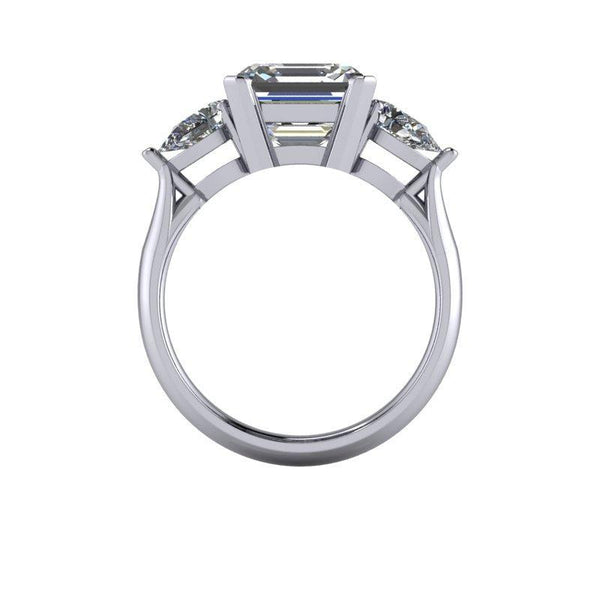 4.00 CTW Asscher Cut and Pear Forever One Moissanite Three Stone Ring-Bel Viaggio Designs