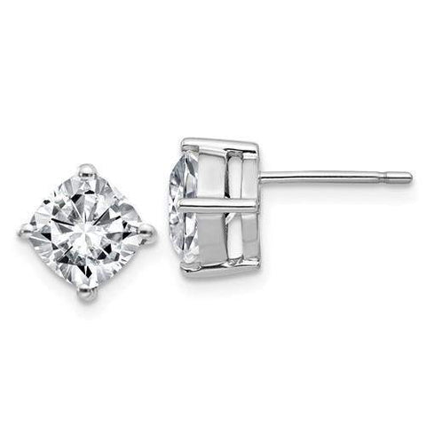 4.00 CTW Cushion Cut Stud Earrings - 14kt Gold Moissanite 4-Prong Post Earrings-BVD