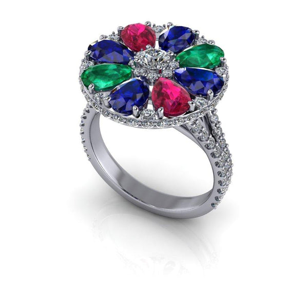 4.00 CTW Lab Grown Diamond, Ruby, Emerald & Sapphire Anniversary Ring-Bel Viaggio Designs