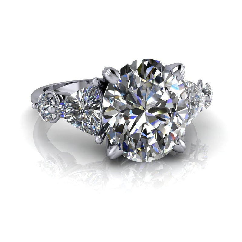 4.00 CTW Oval and Trillion 5-Stone Moissanite Engagement Ring-Bel Viaggio Designs