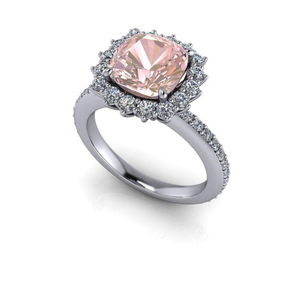 4.01 CTW Pink Sapphire & Forever One Moissanite Halo Engagement Ring-Bel Viaggio Designs