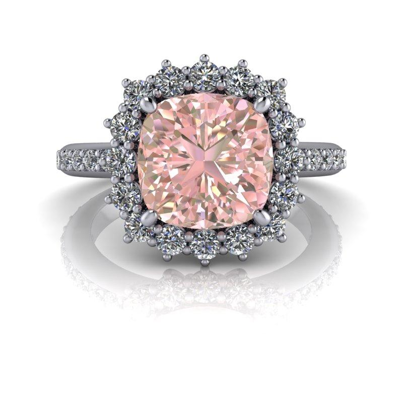 4.01 CTW Pink Sapphire & Diamond Halo Engagement Ring-Bel Viaggio Designs