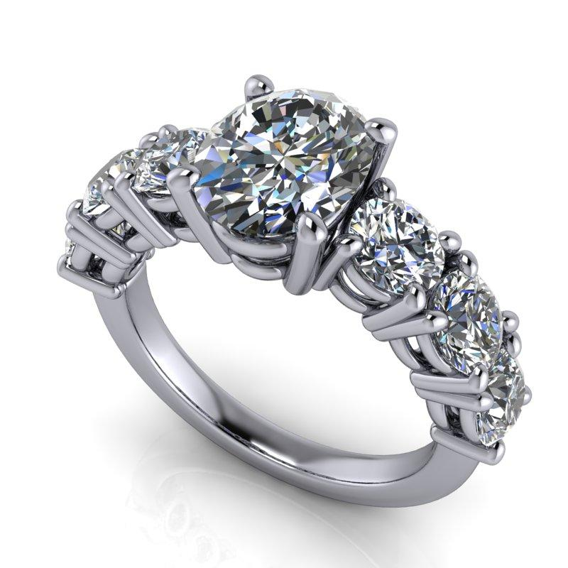 4.08 CTW Oval Forever One Moissanite 7-Stone Anniversary Ring-Bel Viaggio Designs, LLC
