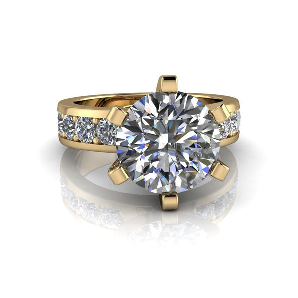 4.10 CTW Forever One Moissanite Round Engagement Ring-Bel Viaggio Designs