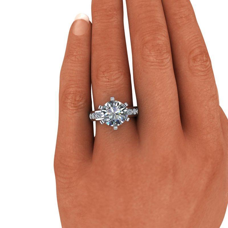 4.10 CTW Colorless Moissanite Round Engagement Ring-Bel Viaggio Designs