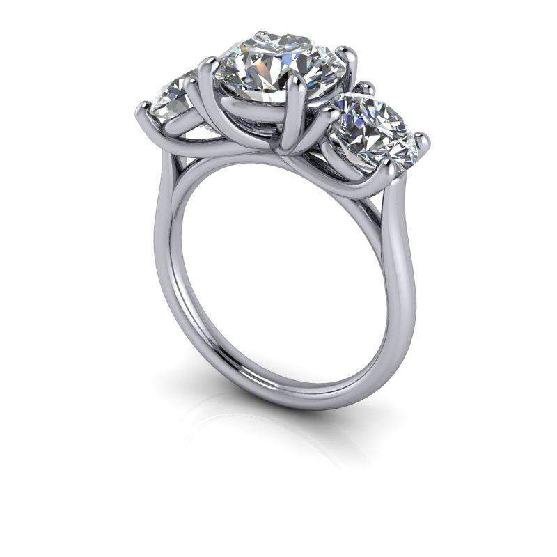 4.10 CTW Round Three Stone Trellis Style Engagement Ring or Anniversary Ring-Bel Viaggio Designs
