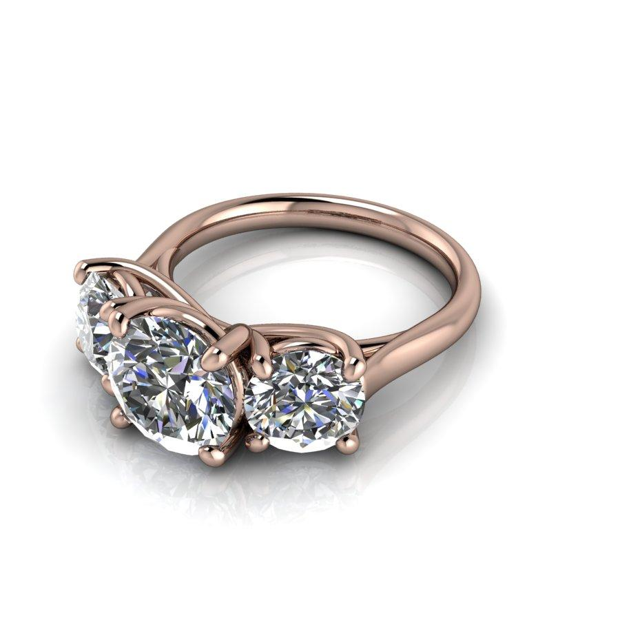 4.10 CTW Round Three Stone Trellis Style Engagement Ring or Anniversary Ring-BVD