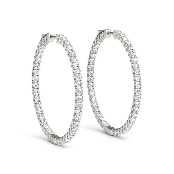 Lab Grown Diamond In and Out Hoop Earrings 20mm, 1.02 ctw-Bel Viaggio Designs