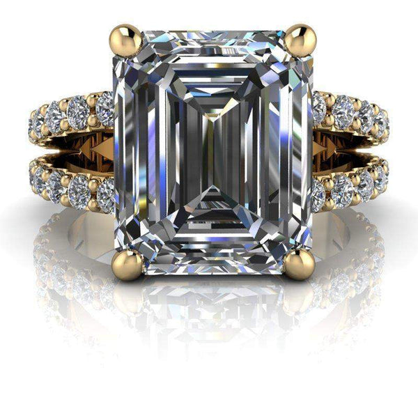4.11 CTW Emerald Cut Split Shank Colorless Moissanite Engagement Ring-Bel Viaggio Designs