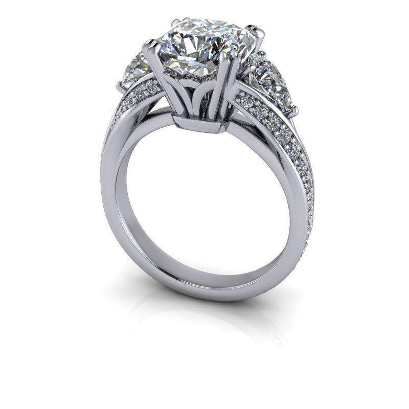 4.12 ctw Forever One Moissanite Pear & Cushion Cut Three Stone Engagement Ring-Bel Viaggio Designs, LLC