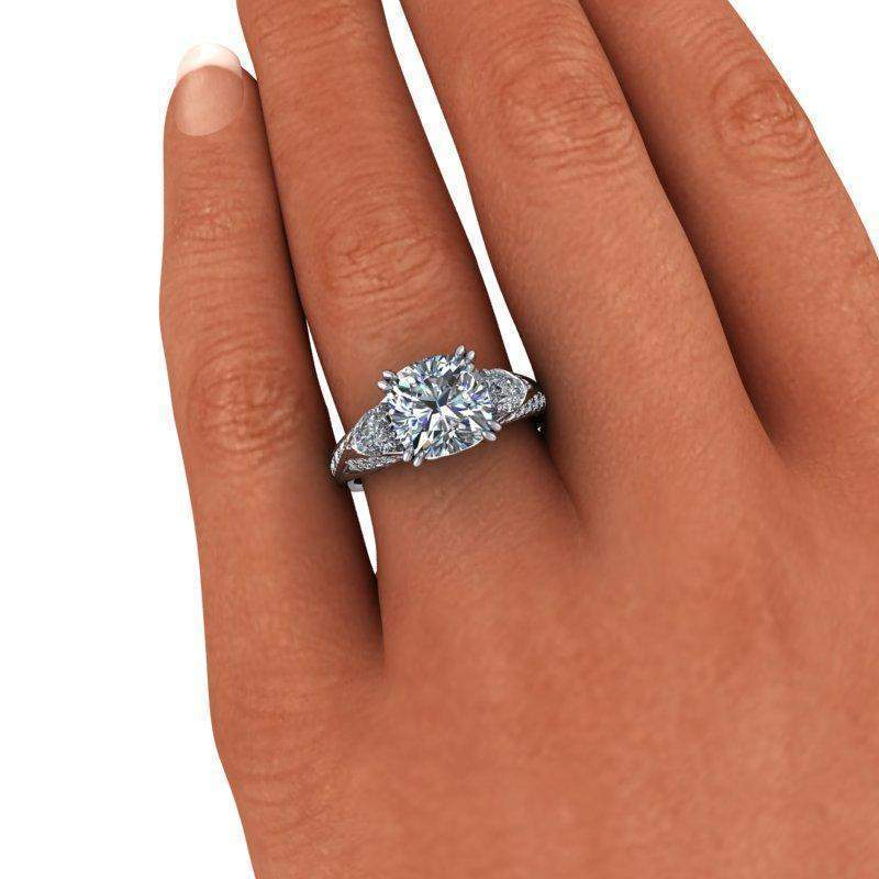 4.12 ctw Forever One Moissanite Pear & Cushion Cut Three Stone Engagement Ring-Bel Viaggio Designs