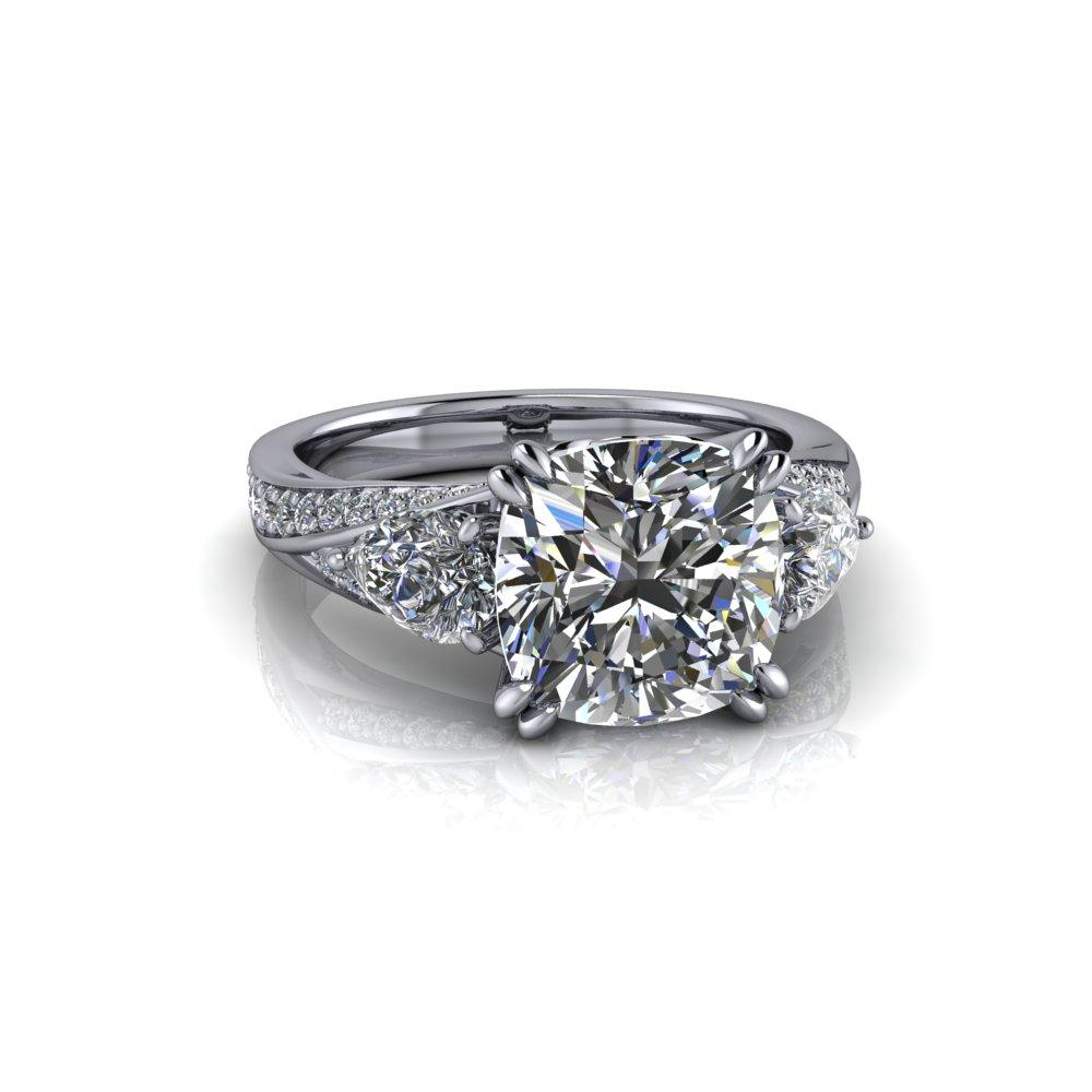 4.12 ctw Forever One Moissanite Pear & Cushion Cut Three Stone Engagement Ring-BVD
