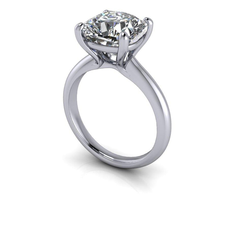 4.20 CTW Cushion Cut Moissanite Solitaire Engagement Ring, DEF Color-Bel Viaggio Designs