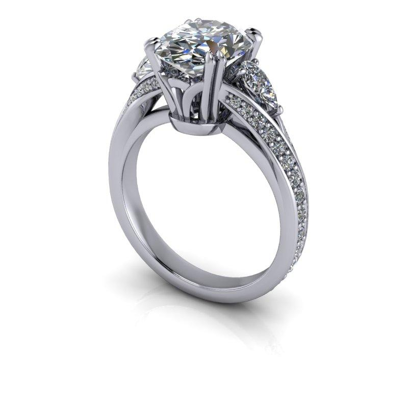 4.26 CTW Oval & Pear Shape Forever One Moissanite Engagement Ring-Bel Viaggio Designs, LLC