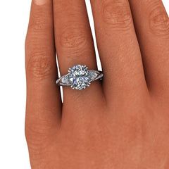 4.26 CTW Oval & Pear Shape Forever One Moissanite Engagement Ring-BVD