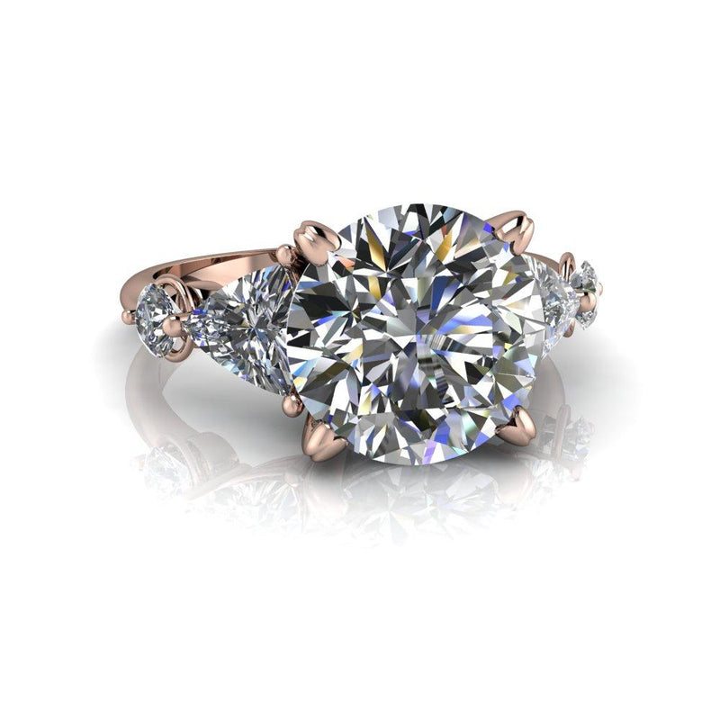 4.27 CTW Hearts & Arrows Round Charles & Colvard Moissanite Engagement Ring-Bel Viaggio Designs