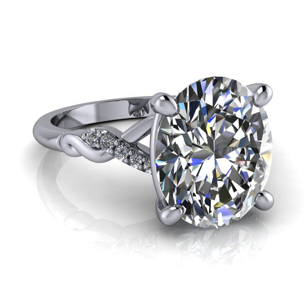 4.30 CTW Oval Moissanite Engagement Ring, DEF Color-Bel Viaggio Designs
