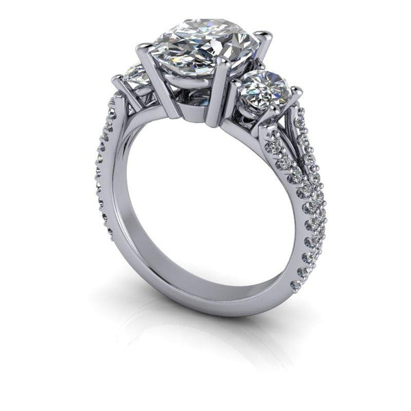 4.33 CTW Oval Forever One Moissanite Three Stone Anniversary or Engagement Ring-Bel Viaggio Designs