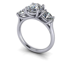 4.34 CTW Forever One Moissanite Three Stone Engagement Ring Bridal Set-Bel Viaggio Designs