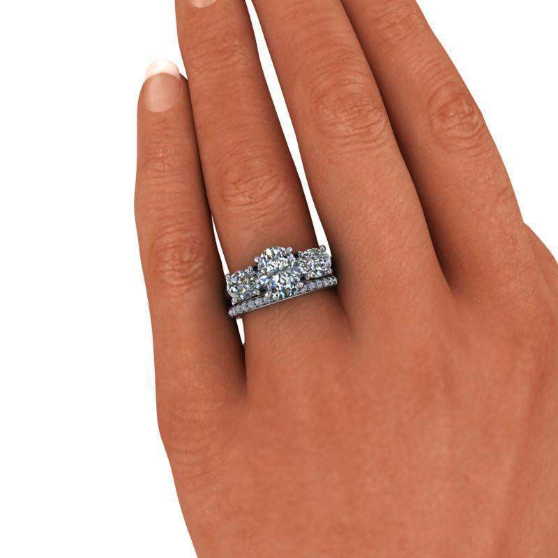 4.34 CTW Colorless Moissanite Three Stone Engagement Ring Bridal Set-Bel Viaggio Designs