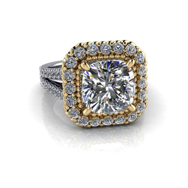 4.35 CTW Stacy K Opulence Cushion Cut Split Shank Engagement Ring-Bel Viaggio Designs