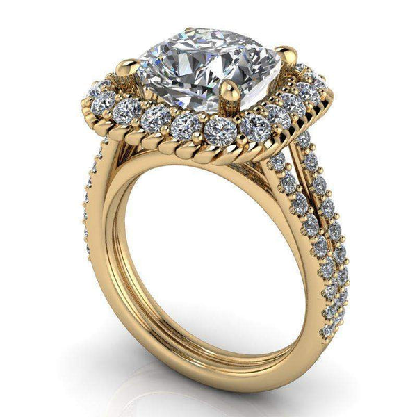 4.35 CTW Stacy K ~ Opulence Limited Edition Cushion Cut Split Shank Engagement Ring-BVD