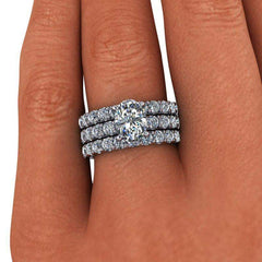 4.38 CTW Oval Bridal Set Forever One Moissanite Engagement Ring - Center Stone Option-BVD