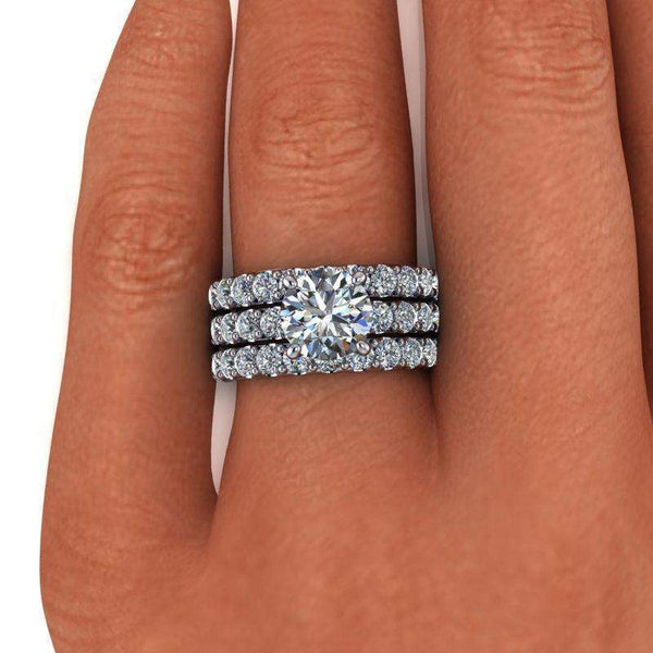 4.38 CTW Round Bridal Set Colorless Moissanite Engagement Ring-Bel Viaggio Designs