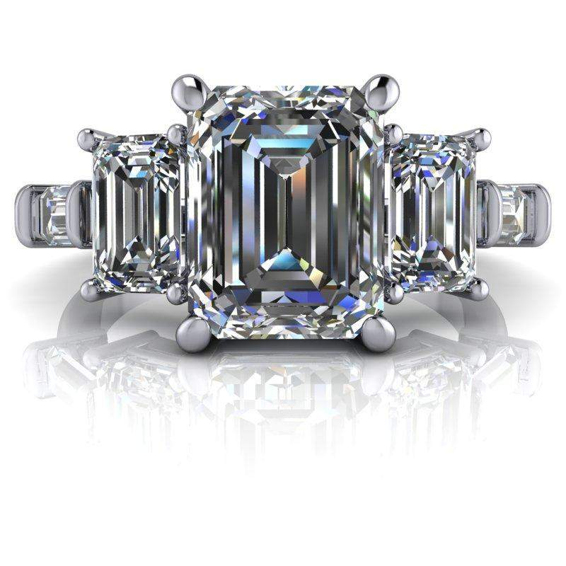 4.42 CTW 5-Stone Emerald Cut and Colorless Moissanite Baguette Engagement Ring-Celestial Premier-Bel Viaggio Designs-Bel Viaggio®