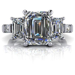 4.42 CTW 5-Stone Emerald Cut and Colorless Moissanite Baguette Engagement Ring-BVD