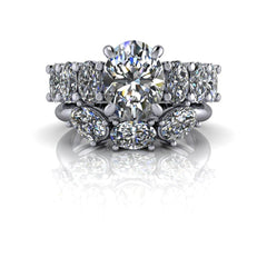 4.44 ctw Oval Charles & Colvard Moissanite Anniversary Ring/Engagement Ring Bridal Set-Bel Viaggio Designs