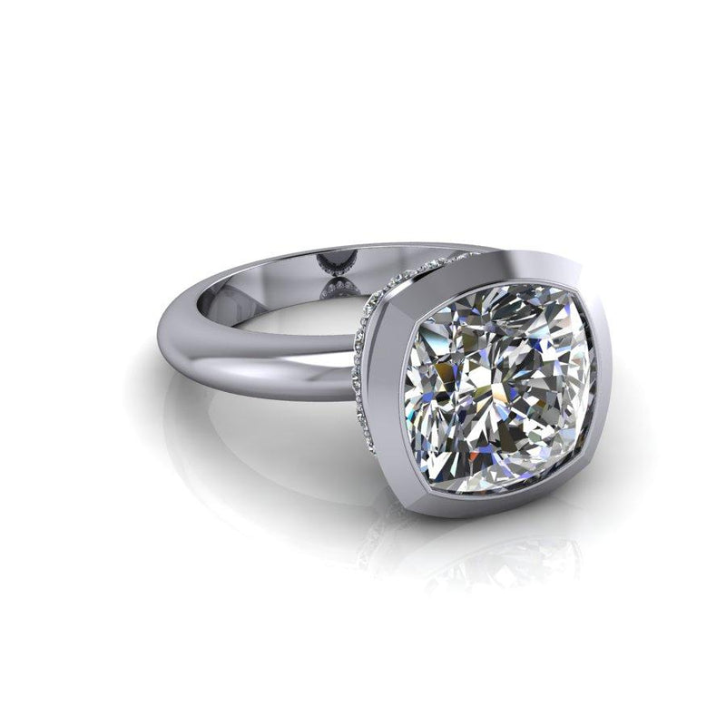 4.45 CTW Cushion Cut Moissanite Ring, Bezel Set, DEF Color-Bel Viaggio Designs