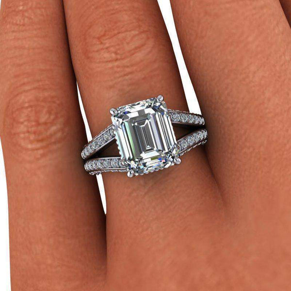4.45 CTW Emerald Cut Forever One Moissanite Split Shank Ring-Bel Viaggio Designs