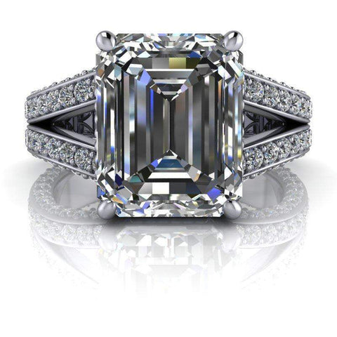 4.45 CTW Emerald Cut Forever One Moissanite Split Shank Ring-Bel Viaggio Designs, LLC