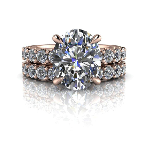 4.52 CTW Bridal Set Oval Forever One Moissanite Engagement Ring-Bel Viaggio Designs