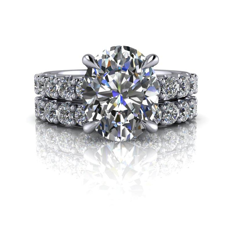 4.52 CTW Bridal Set Oval Colorless Moissanite Engagement Ring-Bel Viaggio Designs
