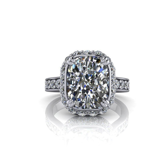 4.58 CTW Elongated Cushion Cut Moissanite Engagement Ring-Bel Viaggio Designs