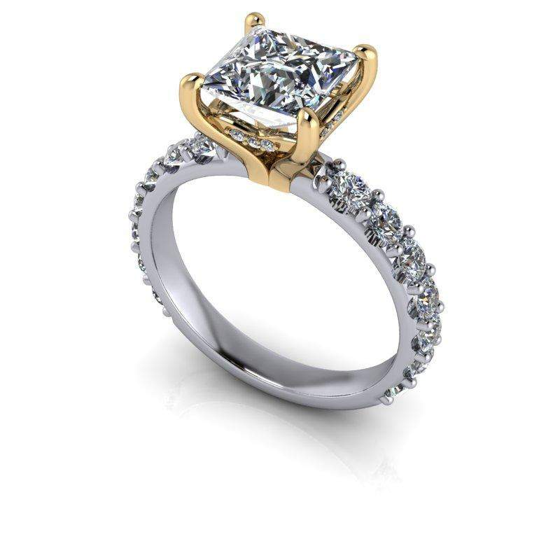4.58 CTW Princess Cut Bridal Set Colorless Moissanite Engagement Ring-Bel Viaggio Designs