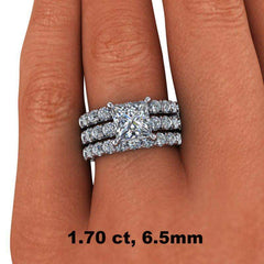 4.58 CTW Princess Cut Bridal Set Colorless Moissanite Engagement Ring - Center Stone Option-Bel Viaggio Designs, LLC