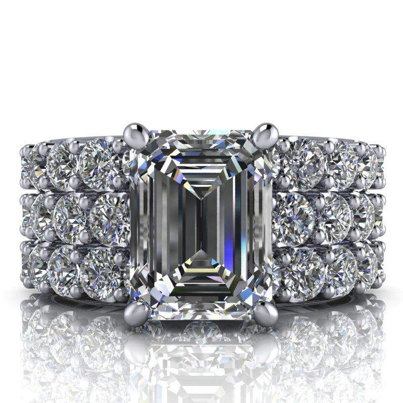 4.63 CTW Emerald Cut Bridal Set Colorless Moissanite Engagement Ring - Center Stone Option-BVD