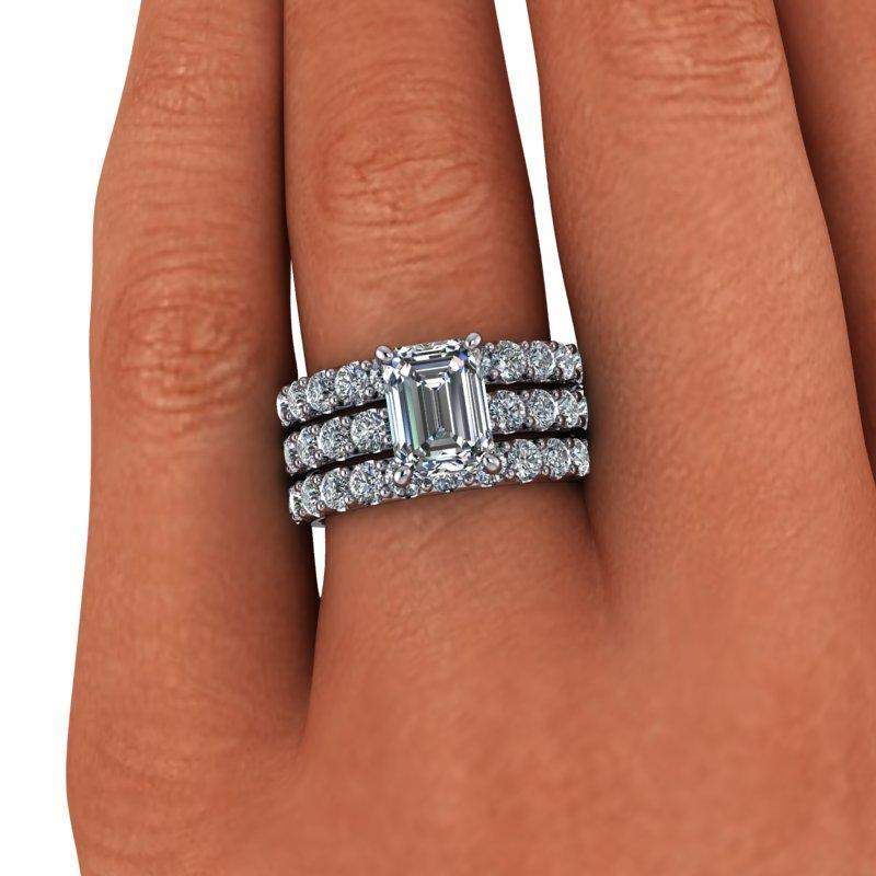 4.63 CTW Emerald Cut Bridal Set Colorless Moissanite Engagement Ring-Bel Viaggio Designs