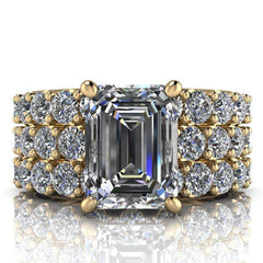 4.63 CTW Emerald Cut Bridal Set Forever One Moissanite Engagement Ring - Center Stone Option-Bel Viaggio Designs, LLC