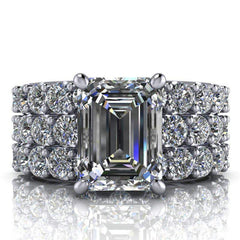 4.63 CTW Emerald Cut Bridal Set Forever One Moissanite Engagement Ring - Center Stone Option-BVD
