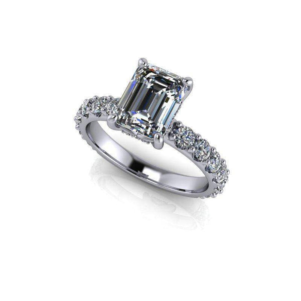 4.63 CTW Emerald Cut Bridal Set Forever One Moissanite Engagement Ring - Center Stone Option-Bel Viaggio Designs