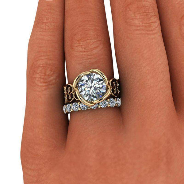 4.70 CTW Bridal Set, Forever One Moissanite Engagement Ring Insieme Bridal Stackables®-Bel Viaggio Designs