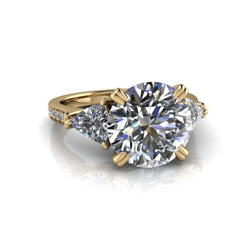 4.71 CTW Round Hearts & Arrows/Trillion Three Stone Moissanite Engagement Ring-Bel Viaggio Designs